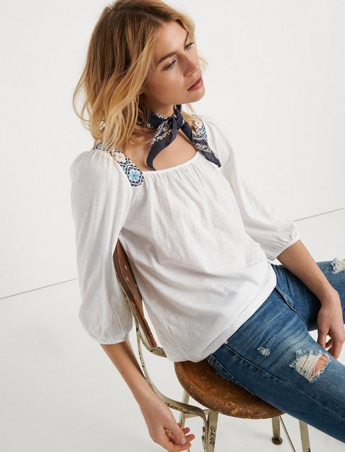 SOLID EMBROIDERED TOP, LUCKY WHITE