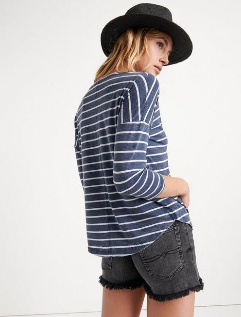 STRIPED BURN OUT HENLEY, NAVY STRIPE