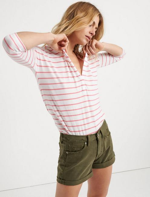 STRIPED BURN OUT HENLEY, PINK STRIPE