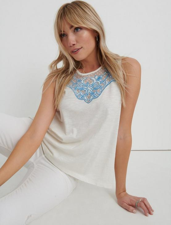 EMBROIDERED TANK, MARSHMALLOW, productTileDesktop