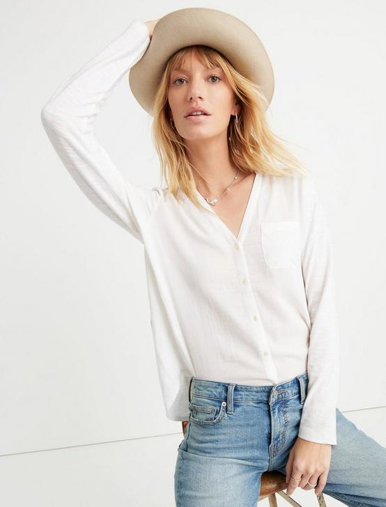 WOVEN KNIT MIXED TOP, LUCKY WHITE, productTileDesktop