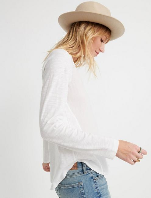 WOVEN KNIT MIXED TOP, LUCKY WHITE