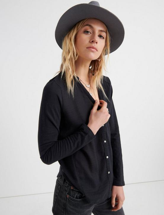 WOVEN KNIT MIXED TOP, WASHED BLACK, productTileDesktop