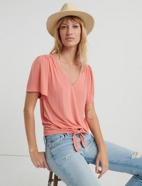 V-NECK FRONT TIE TOP, #8386 PERSIMMON