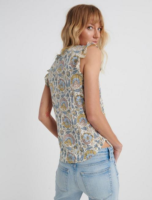 FLUTTER PRINTED TOP, BLUE MULTI