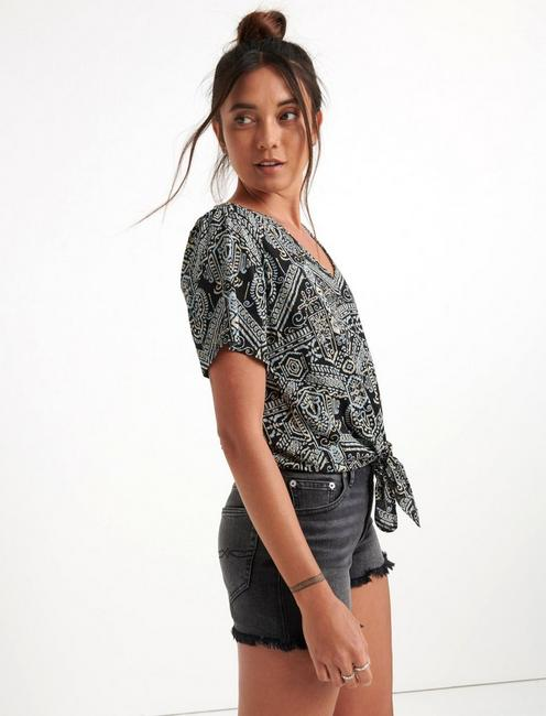 V-NECK FRONT TIE TOP, BLACK MULTI