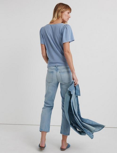 V-NECK FRONT TIE TOP, BLUE STRIPE
