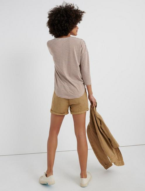 STRIPED BURN OUT HENLEY, BROWN STRIPES