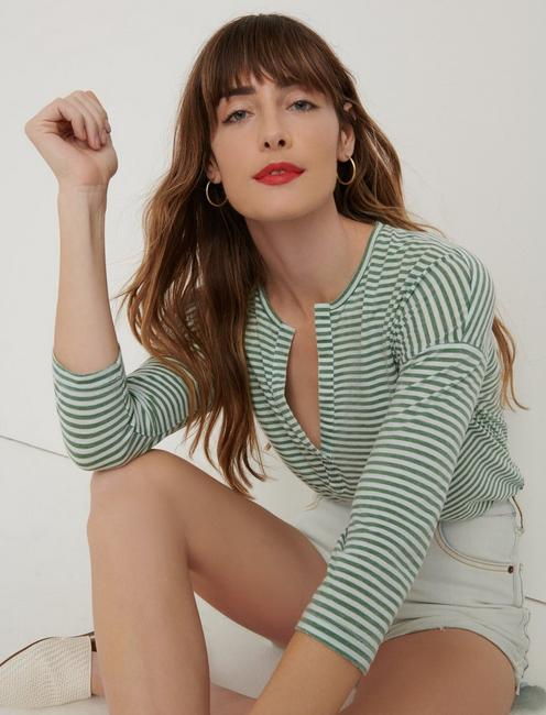 STRIPED BURN OUT HENLEY, GREEN STRIPE