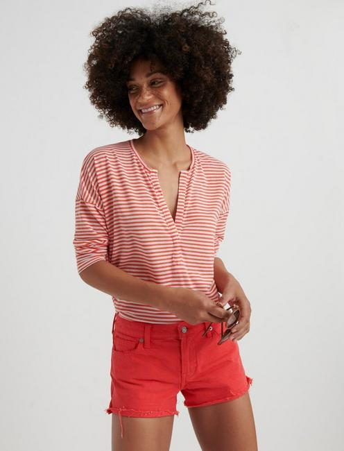 STRIPED BURN OUT HENLEY, CORAL STRIPE