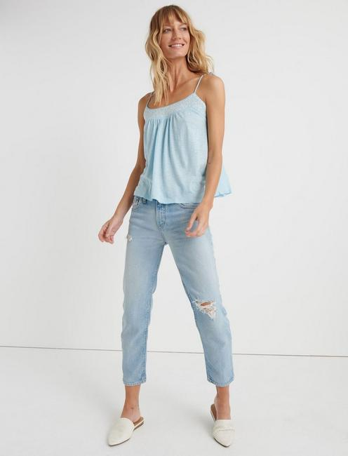 EMBROIDERED SWING TANK TOP, CRYSTAL BLUE
