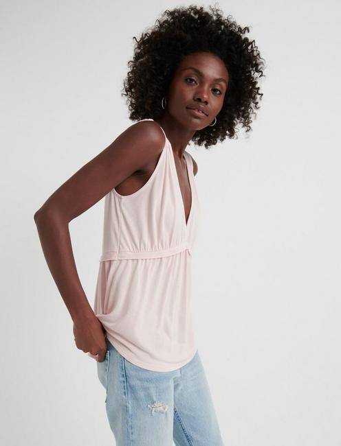 SLEEVELESS ROMANTIC RUFFLE TOP, VEILED ROSE