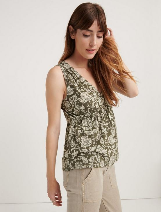 SLEEVELESS ROMANTIC RUFFLE TOP, OLIVE MULTI, productTileDesktop