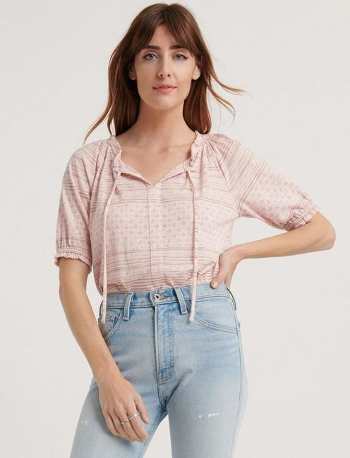 Printed Short Sleeve Peasant Top