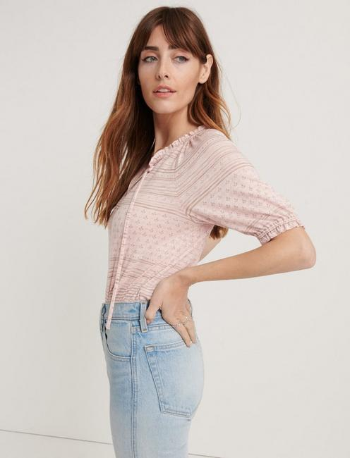PRINTED SHORT SLEEVE PEASANT TOP, PINK MULTI