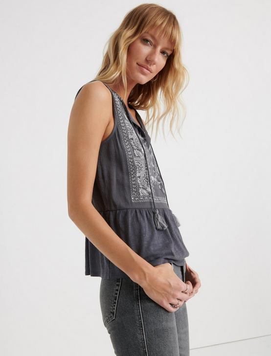 EMBROIDERED PEPLUM TOP, GREY MULTI, productTileDesktop