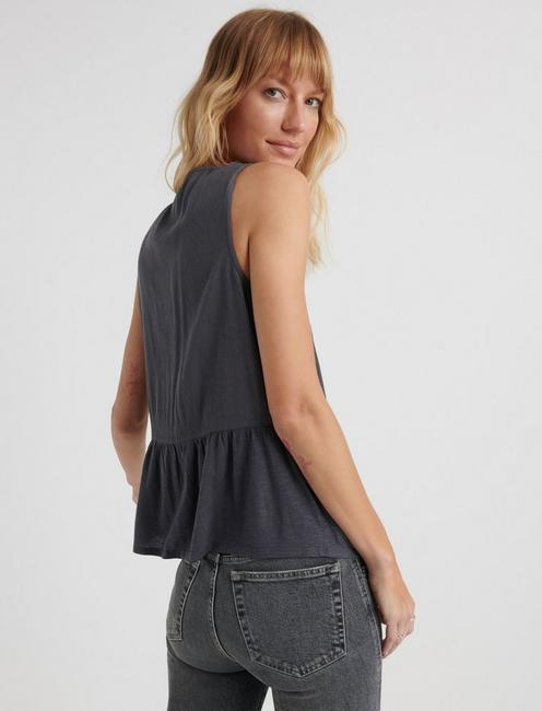 EMBROIDERED PEPLUM TOP, GREY MULTI