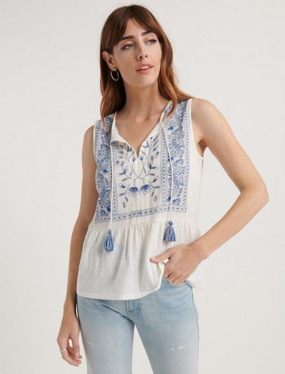 EMBROIDERED PEPLUM TOP, WHITE MULTI, productTileDesktop