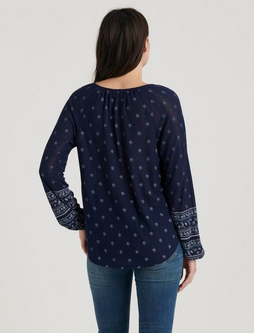 PRINTED DROP NEEDLE PEASANT, NAVY MULTI