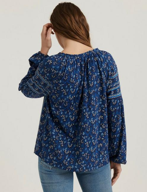 BORDER PRINTED PEASANT, BLUE MULTI