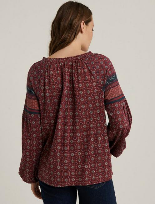 BORDER PRINTED PEASANT, BURGUNDY MULTI