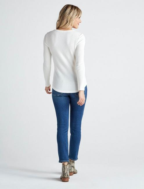 HACCI RIB LONG SLEEVE TOP, MARSHMALLOW