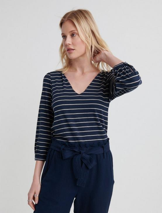 NOTCH NECK STRIPED TOP, NAVY STRIPE, productTileDesktop