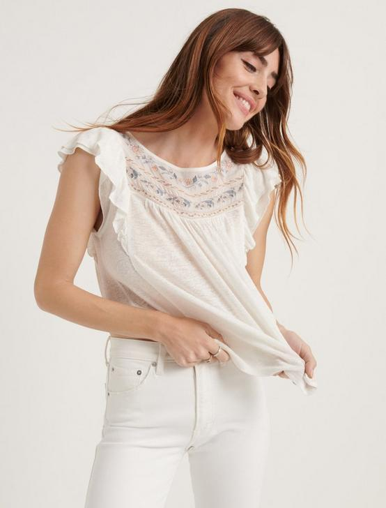 EMBROIDERED FLUTTER SLEEVE TOP, CREAM MULTI, productTileDesktop
