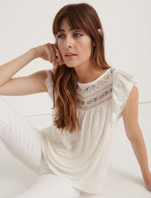 EMBROIDERED FLUTTER SLEEVE TOP, CREAM MULTI