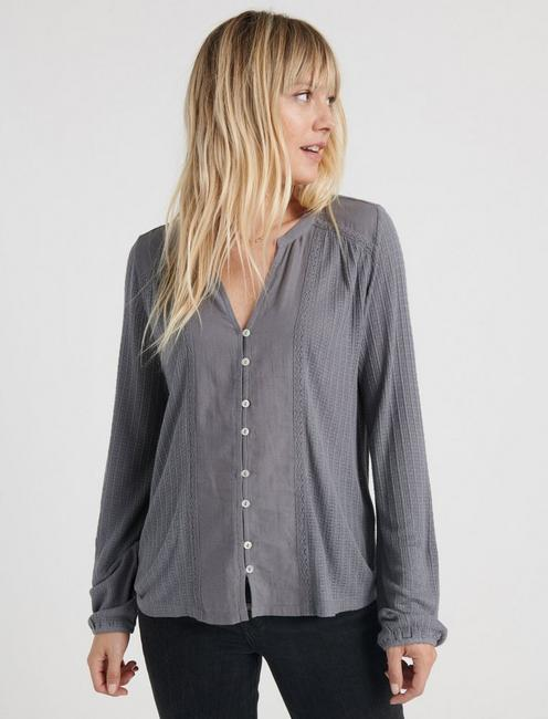DROP NEEDLE WOVEN MIX TOP, QUIET SHADE