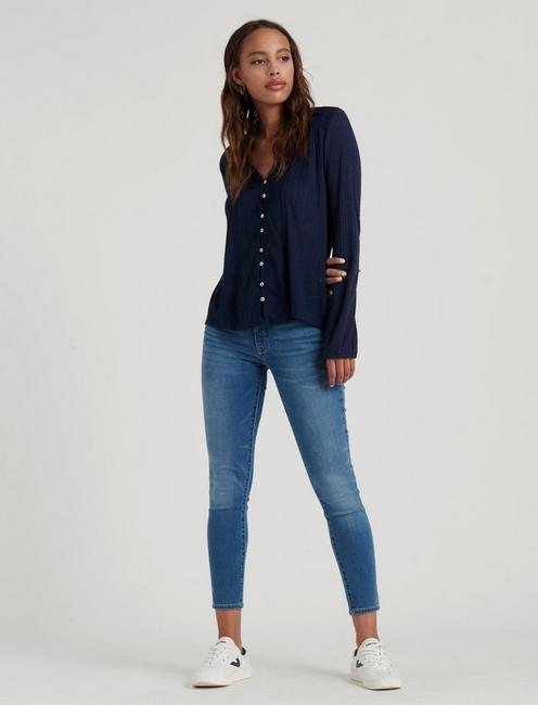 DROP NEEDLE WOVEN MIX TOP, AMERICAN NAVY
