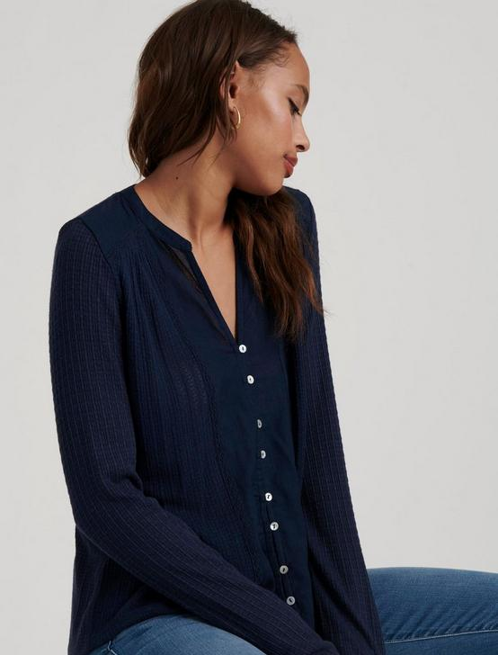 DROP NEEDLE WOVEN MIX TOP, AMERICAN NAVY, productTileDesktop