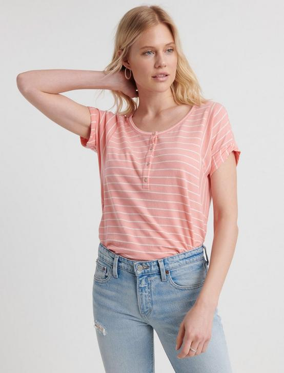 DROP SHOULDER HENLEY, CORAL STRIPE, productTileDesktop