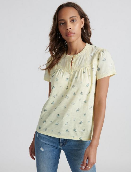 LACE TRIM PRINTED HENLEY, YELLOW MULTI, productTileDesktop