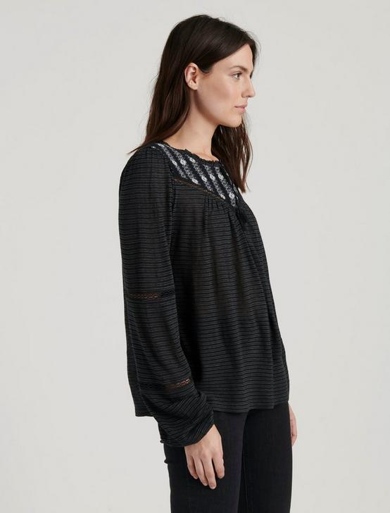 EMBROIDERED PEASANT TOP, CAVIAR, productTileDesktop