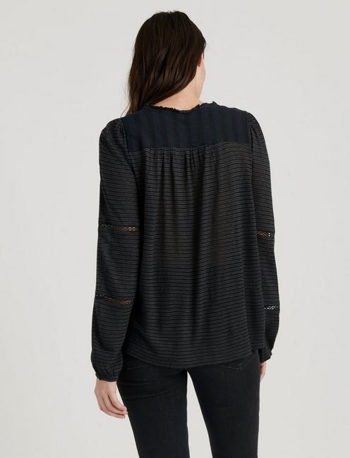 EMBROIDERED PEASANT TOP, CAVIAR