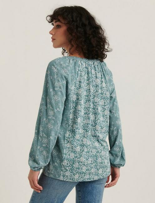 MIX PRINTED PEASANT TOP, TEAL MULTI