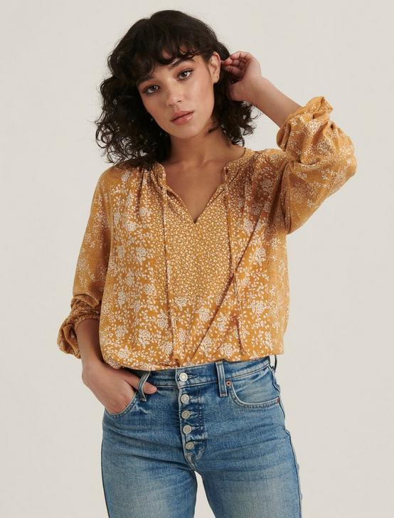 MIX PRINTED PEASANT TOP, MUSTARD MULTI, productTileDesktop