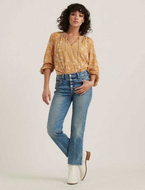 MIX PRINTED PEASANT TOP, MUSTARD MULTI