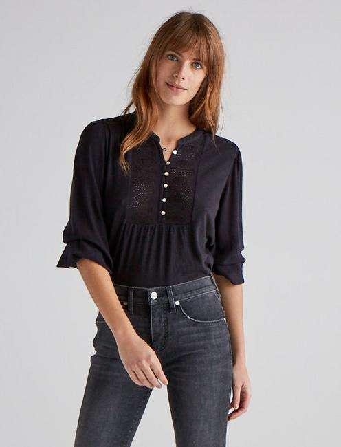 EMBROIDERED BIB HENLEY, 001 LUCKY BLACK