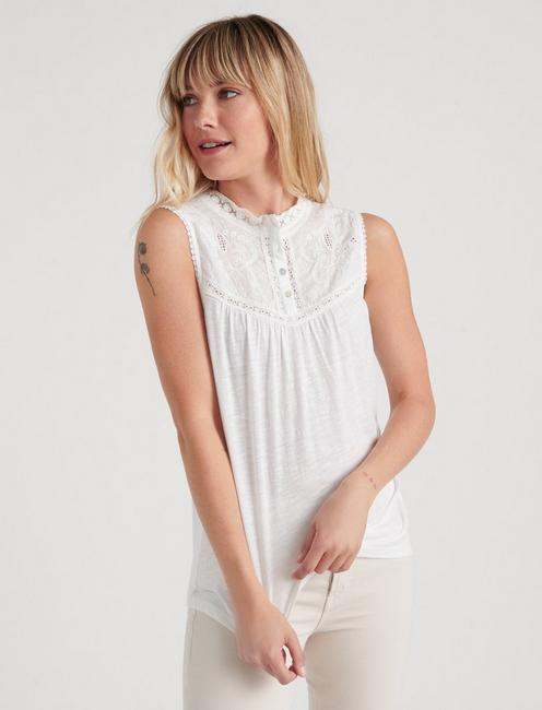 MOCK NECK LACE TOP, LUCKY WHITE