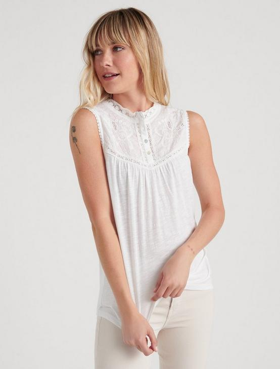 MOCK NECK LACE TOP, LUCKY WHITE, productTileDesktop