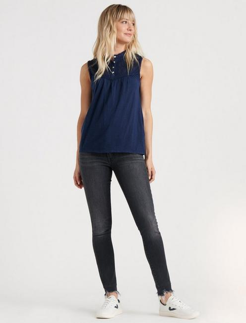 MOCK NECK LACE TOP, AMERICAN NAVY