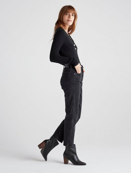 LONG SLEEVE RIBBED HENLEY, 001 LUCKY BLACK, productTileDesktop