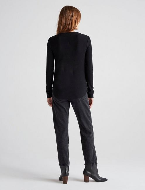 LONG SLEEVE RIBBED HENLEY, 001 LUCKY BLACK