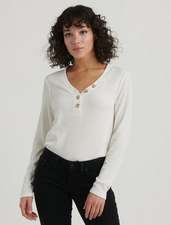 LONG SLEEVE RIBBED HENLEY, MARSHMALLOW, productTileDesktop