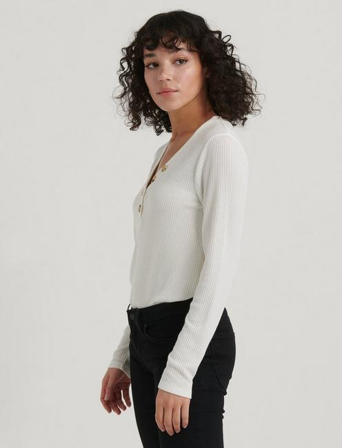 LONG SLEEVE RIBBED HENLEY, MARSHMALLOW