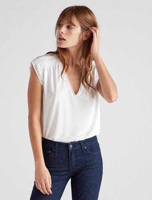 LACE TRIM SAND WASH TOP, MARSHMALLOW