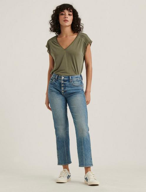 LACE TRIM SAND WASH TOP, OLIVE