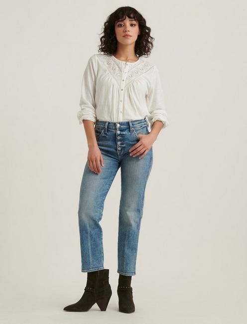 EMBROIDERED WESTERN YOKE TOP, MARSHMALLOW